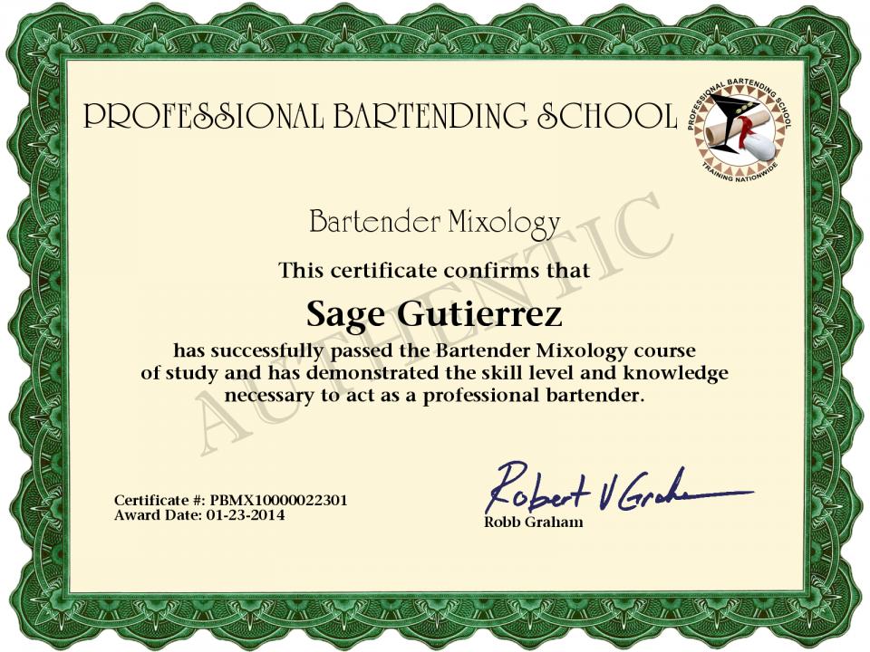 Sage Gutierrez Certificate Pbso Bartender Mixology