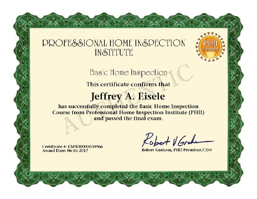 Eisele Certificate Basic Home Insepction Course