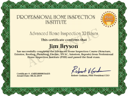 Home Inspection Certificate - Jim Bryson