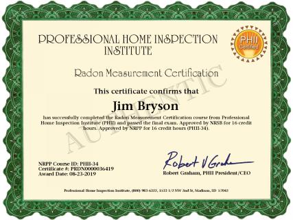 Radon Certificate - Jim Bryson